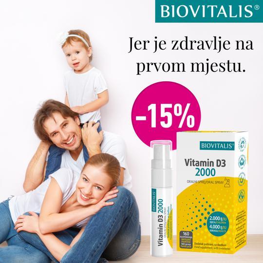 Biovitalis Vitamin D3 2000 oralni sprej 20ml 15%