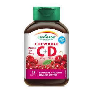 Jamieson vitamin C+D 75 tableta za žvakanje