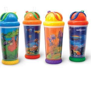 Nuby dječja čaša s animacijama, slamčicom i poklopcem, 330 ml N9692